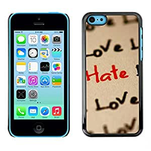 Paccase / SLIM PC / Aliminium Casa Carcasa Funda Case Cover - Love Hate Love Pattern - Apple Iphone 5C