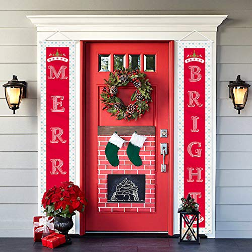 Christmas Decorations Outdoor Indoor - 2 Pcs Merry Bright Porch Sign Banner Door - Red Xmas Decor Hanging Banners for Home Wall Door Apartment Party (Merry Bright) (Porch Indoor Decorating)