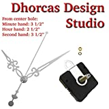 Dhorcas (#012) 3/4'' Threaded Motor and Silver 3 1/2'' Hands and Hanger, Quartz Clock Movement Kit for Replacement