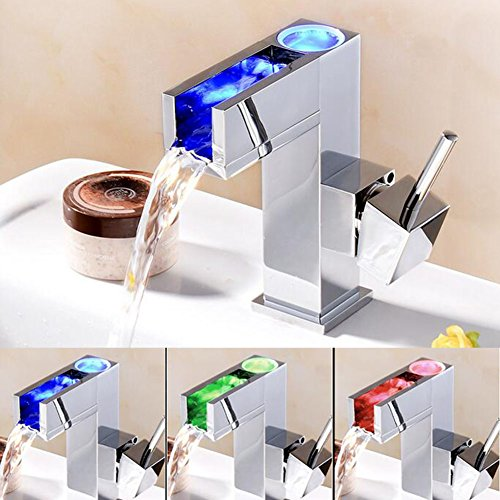 LED Temperature Control Waterfall Bathroom Sink Faucets Basin Mixer Taps by HUAN