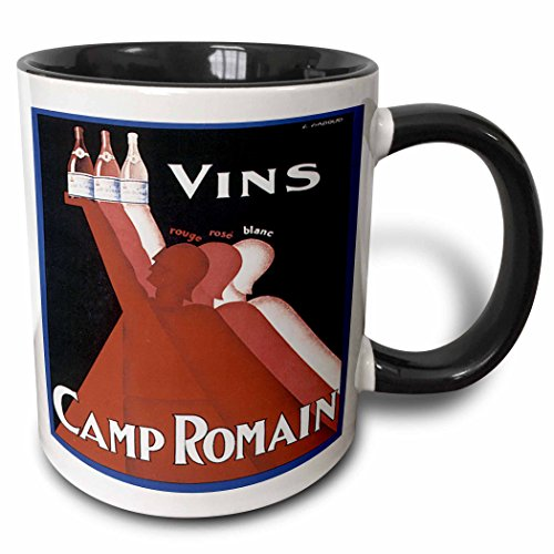 (3dRose BLN Vitage Wine, Beer and Spirits Advertising Posters - Vintage Vins Camp Ormain Rouge Rose Blanc Wine Advertising Poster - 15oz Two-Tone Black Mug (mug_129927_9))