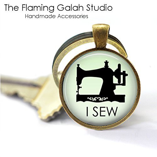I SEW Key Ring • Vintage Sewing Machine • Needle craft • Seamstress • Tailor • Love to Sew • Crafter • Keyring • Key Chain • Key Fob • Gift Under 20 • Antique Bronze or Silver • Made in Australia from The Flaming Galah