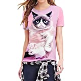 NREALY Women Funny Mode 3D Print Cat Kitty Short Sleeve Top Blouse T Shirts(XXX-Large, Pink)