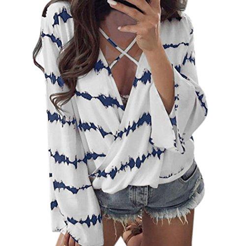 (Lelili Women Tunic Tops Plu Size, Sexy V Neck Bandage Long Sleeve Stripe Loose Shirt Tops Chiffon Blouse (Blue, 3XL))