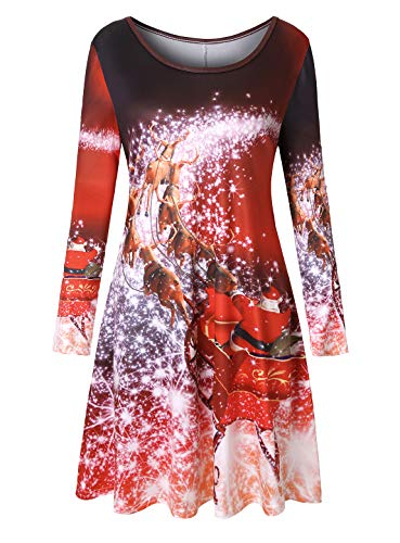 T Shirt Dresses for Women,Misses Xmas Party Dress Funny Santa Claus Printed Soft Knee Length Lightweight Chic Clothes Vibrant Comfortable Clothing Ugly Prom Outfits Red X-Large ()