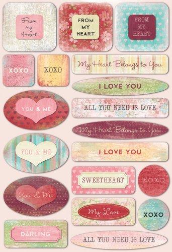 (KAREN FOSTER 10833 Design Acid and Lignin Free Scrapbooking Sticker Sheet, from My Heart)