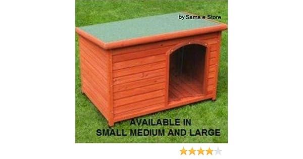 Exteriores casa Caseta de perro de madera techo plano cachorro Refugio Acceso Fácil de Limpiar resistente a la intemperie: Amazon.es: Productos para ...