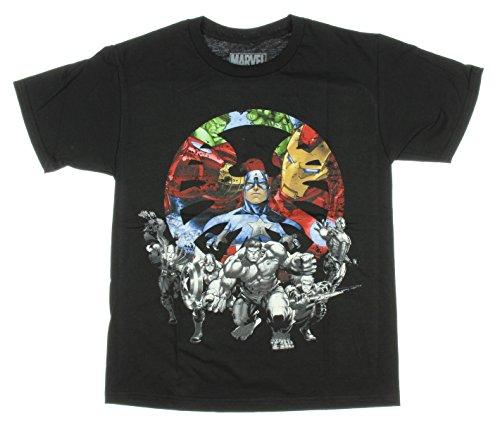 Boys Marvel Avengers Assault Team T-Shirt (Small  (8), Black)
