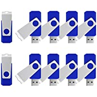 K&ZZ 4GB 4G USB 2.0 Flash Drives Rotating Memory Stick Storage U Disk Swivel Thumb Drives,10pcs(Blue)