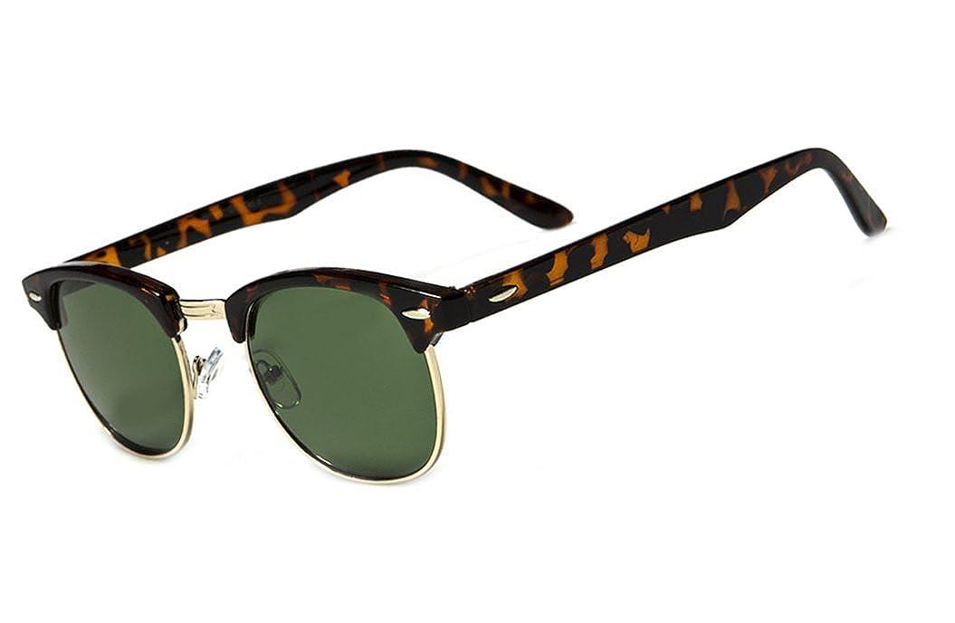 Classic 60s Half Horned Rimmed Wayfarers Gafas De Sol Sunglasses Tortoise//Green