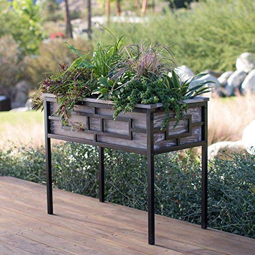 Raised Planter, Wood and Metal, Raised Planter Style
