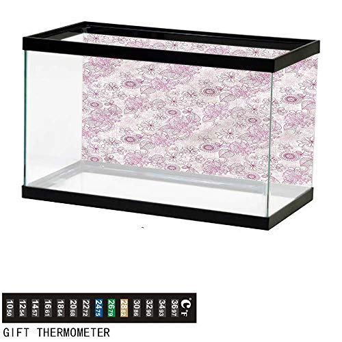 bybyhome Fish Tank Backdrop Floral,Retro Flowers Soft Tones,Aquarium Background,24