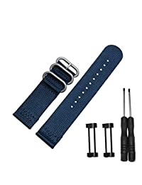 Efitty Luxury Nylon 3 Ring Lugs Watch Band Strap Replacement + Adapters For Suunto Core (Blue)