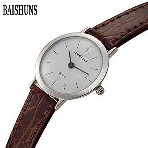 Marca BAISHUNS Slim Reloj mujer correa de cuero de cuarzo analógico reloj de pulsera Casual Mujer