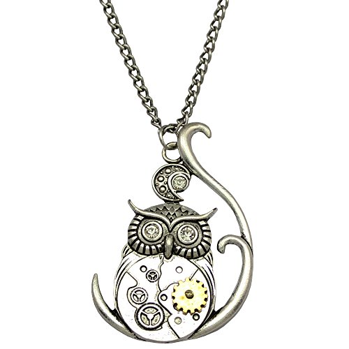 Q&Q Fashion® Fab Silver Ornate 3D Owl Moon Watch Clock Hand Gear Cog Steampunk Chain Fancy Dress Necklace