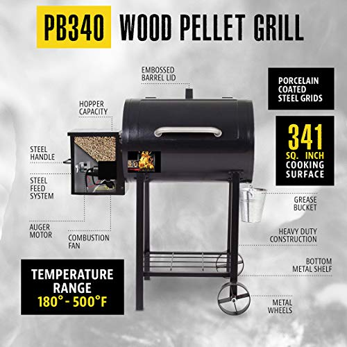 PIT BOSS PB440TG 440 sq in Portable Wood Folding Legs Pellet Grill, Black