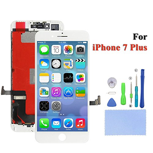 Replacement Screen iPhone 7 Plus Screen Replacement for LCD Display 3D Touch Screen Digitizer Frame Assembly Full Set with Free Tools 5.5 inch(White)