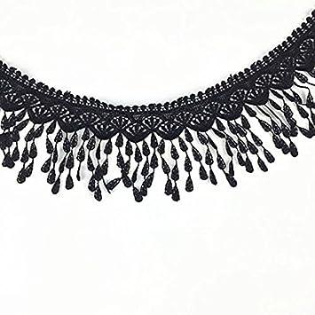 32d0a19803bdd1 Ultnice schwarzes Spitzenband, Quasten, Bordüre, Nähen, bestickte ...