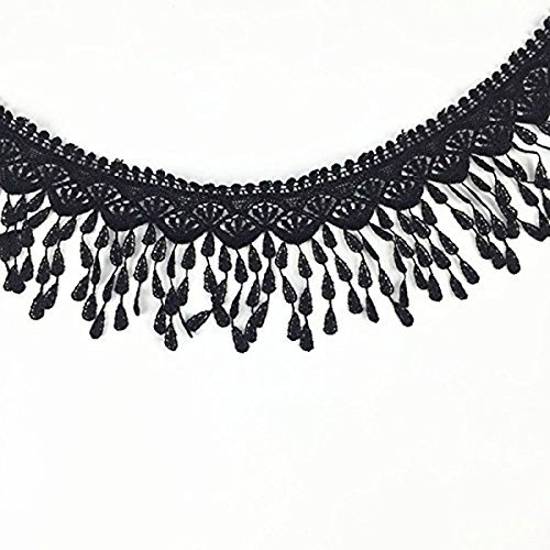 ROSENICE Lace Trim Tassels Flower Applique DIY Ribbon Wedding 3 Yard Sewing Craft (Black)