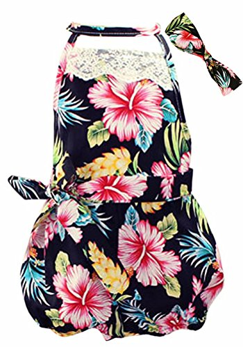 BINPAW Baby Girls Hawaiian Floral Print Lace Cut Out Back Sunsuit Outfit Bloomers Bloomers Jumpsuit Bodysuit Romper with Headband]()