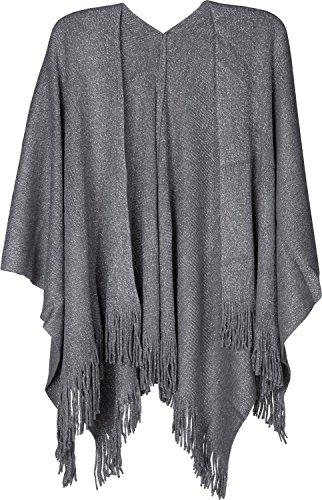 fili poncho 08010045 frange maglia glitter Grigio donna mantellina scialle e styleBREAKER Chiaro con a wqz4TH4Ig