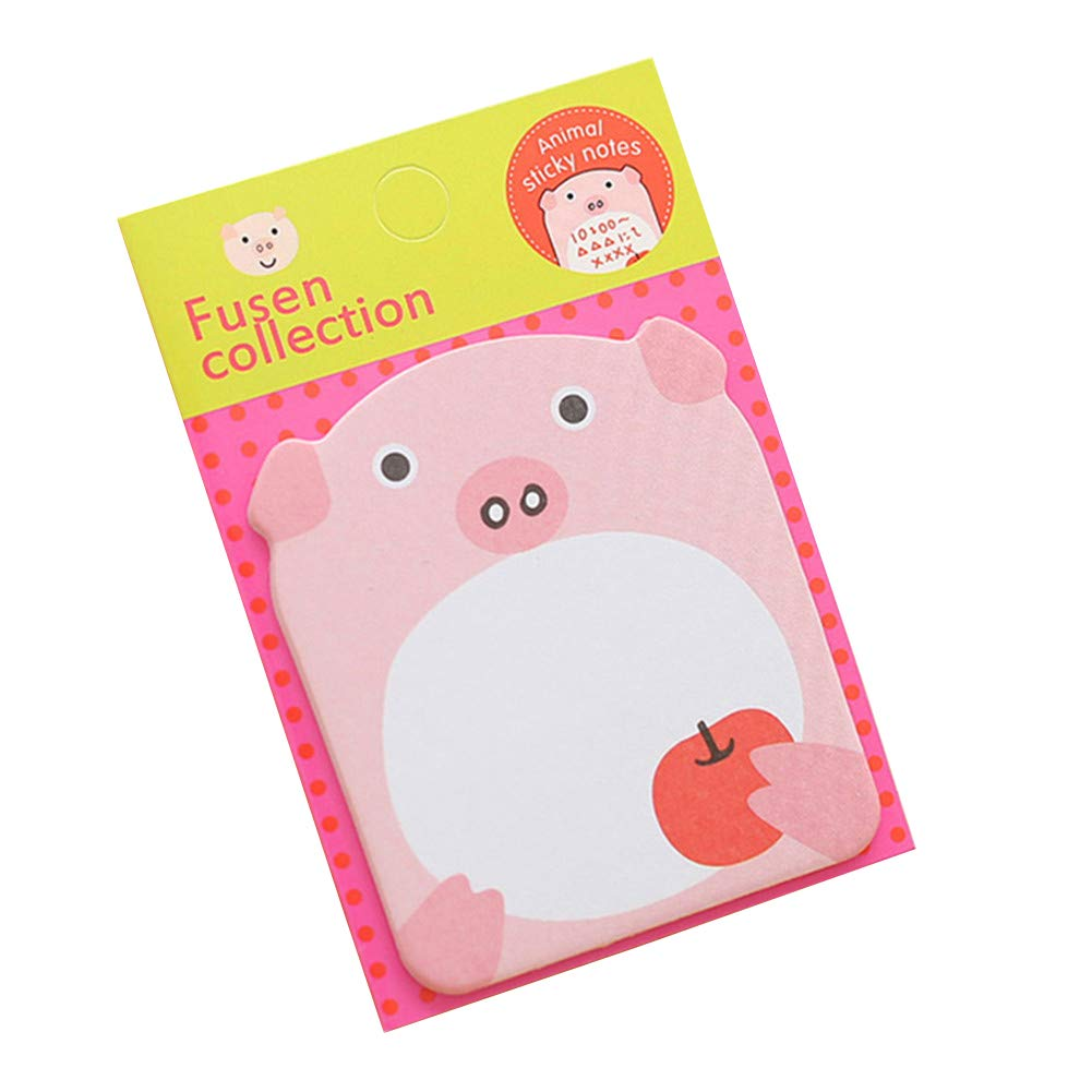 Da.Wa Animal Notebook Pink Pig Shape Notes Small Carry-on Sticky Note Suitable student office Supplies(3 PCS)