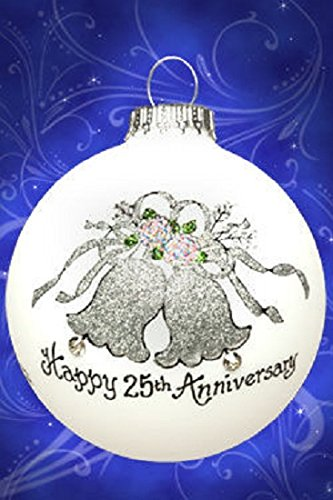 Happy 25th Anniversary Bells Christmas Glass Ornament Made in USA