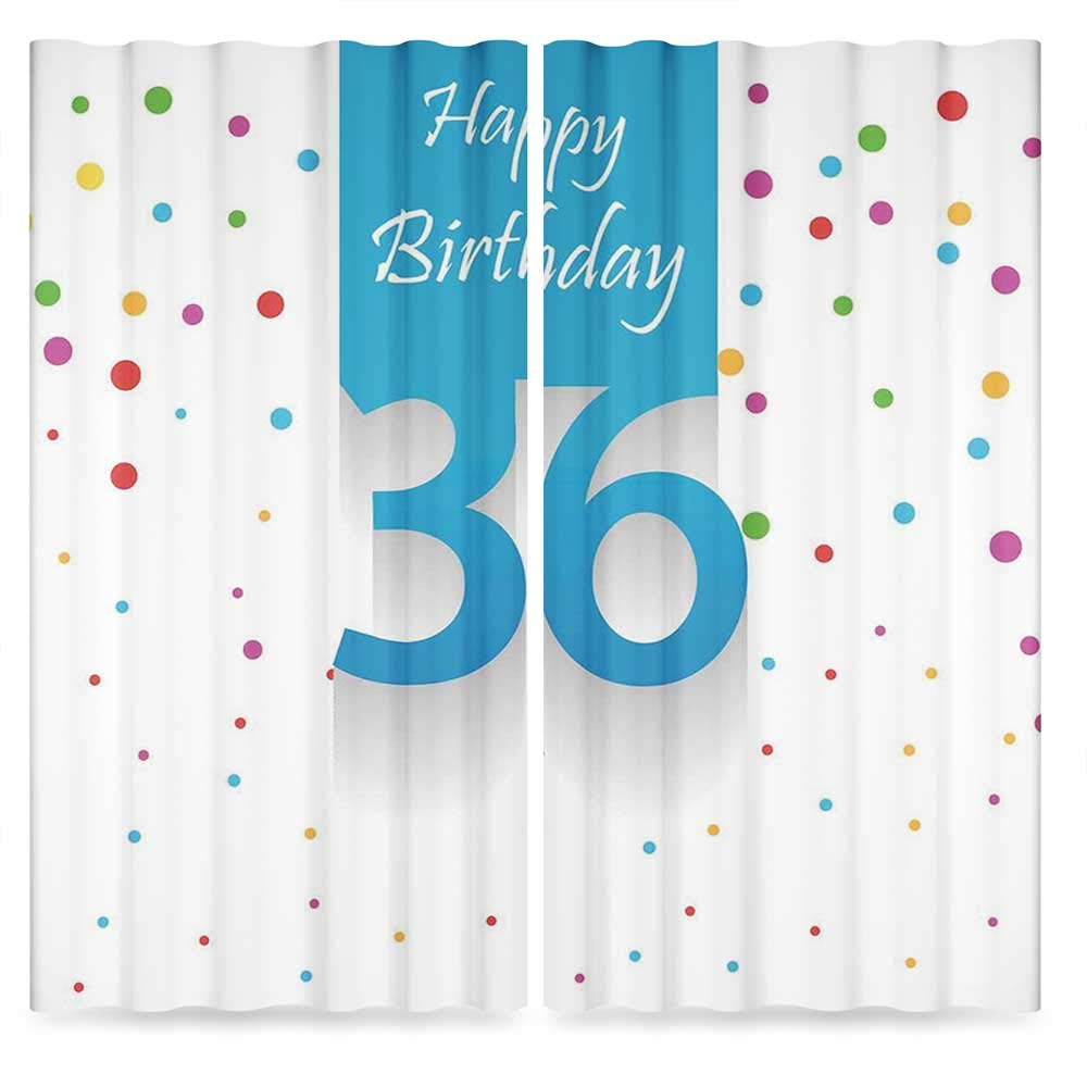 36th Birthday Decorations Small Window Blackout Curtains,Happy Birthday Quote on Blue Backdrop with Colorful Polka Dots,Living Room Bedroom Décor, 2 Panel Set, 28W X 39L Inches