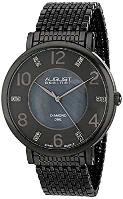 August Steiner Men's AS8138GN Black Swiss Quartz Watch with Black Mother of Pearl and Black Dial and Black Mesh Bracelet