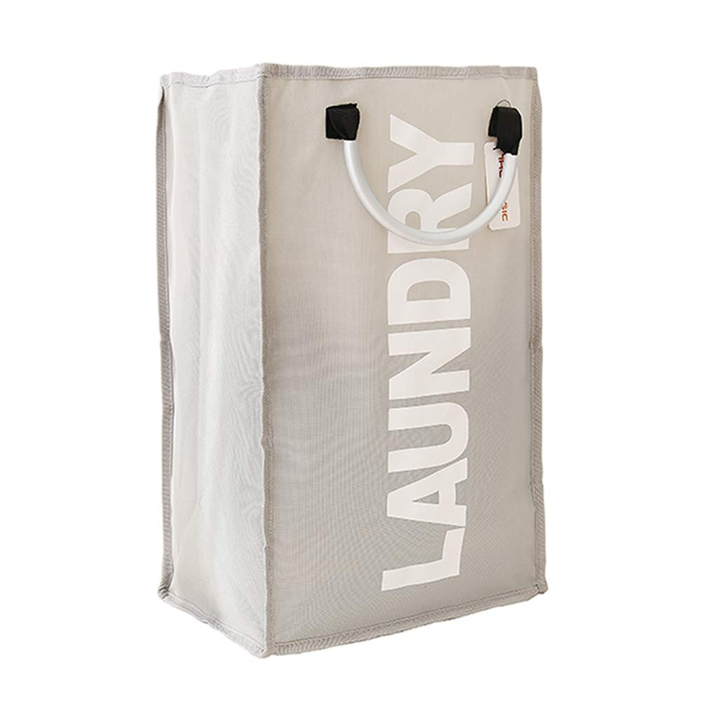 XIFIRY Collapsible Laundry Bags with Alloy Handles, Portable Storage Bags for Collecting Clothes Shopping Bags (Grey)
