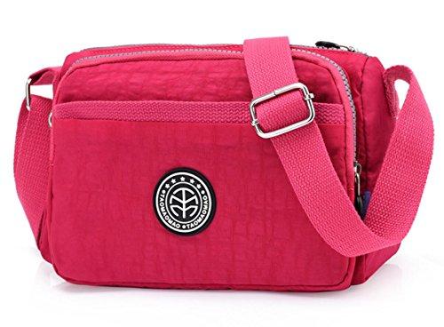 Sulliva Lightweight Crossbody Hot Pink Bag Multi D218 Zipper Women's Pockets Water Nylon resistant Shoulder Kayers wtih EwdRHqE