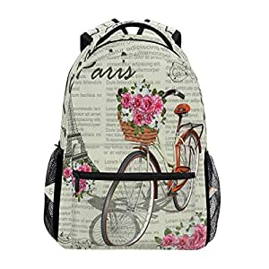 WXLIFE Eiffel Tower Flower Vintage Backpack Travel School Shoulder Bag For Kids Boys Girls Women Men