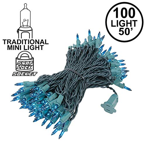 Novelty Lights 100 Light Teal Christmas Mini String Light Set, Green Wire, Indoor/Outdoor UL Listed, 50' Long (Christmas Lights Turquoise)