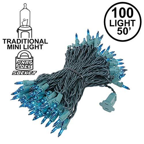 Novelty Lights 100 Light Teal Christmas Mini String Light Set, Green Wire, Indoor/Outdoor UL Listed, 50' Long - Light Xmas Ornament