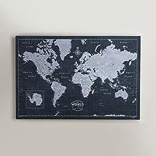 World Travel Map Pin Board Slate