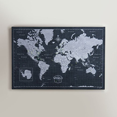 75 Office Star - World Travel Map Pin Board - Modern Slate - Made in Ohio, USA!