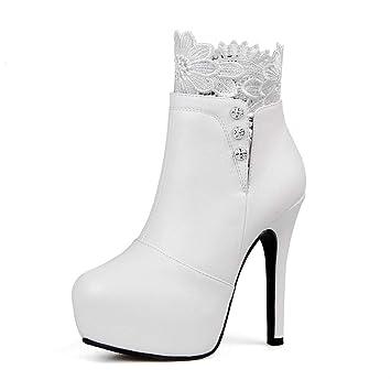 Plataforma para mujer Botines con cremallera Zapatos de tacón alto Botines cortos Botines de tacón alto