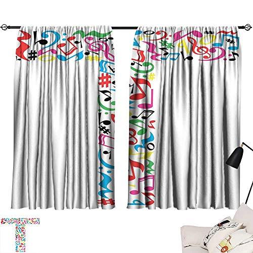 (Ediyuneth Room Darkening Wide Curtains Letter T,Uppercase T Letter Colorful Sheet Music Elements Font Alphabet Design Art Style,Multicolor 84