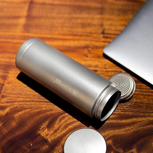 Titanium Thermos Water Bottle with Tea Leaf Strainer Vacuum Insulated Camping Mug Business Gifts 11.9 oz / 350ml