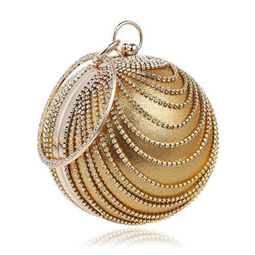 Flada Women's Ball Shape Crystal Evening Clutch Purse Wedding Party HandBags Gold