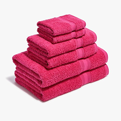 Roomify Bathroom Towel Set - 100% Cotton 6 Piece Set With Bath and Hand Towels - Soft & Absorbent - Hot Pink Towels