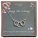 Efy Tal Jewelry Happy 30th Birthday Gifts for Women Necklace, Sterling Silver 3 Rings Three Decades Necklaces Gift Ideas