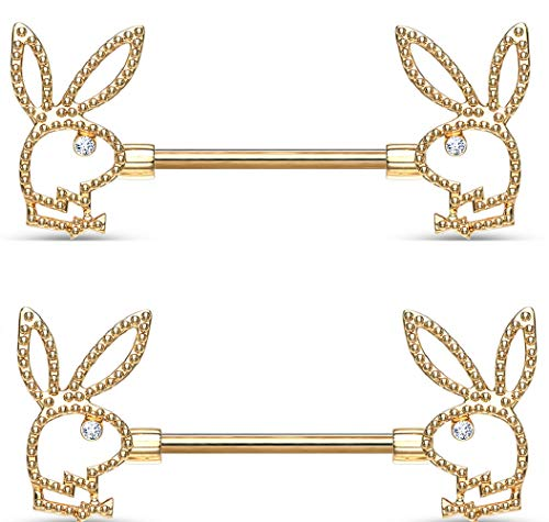 Body Accentz Playboy Bunny Crystal Eye Beaded Edges 316L Surgical Steel Nipple Barbell Rings(Goldtone)