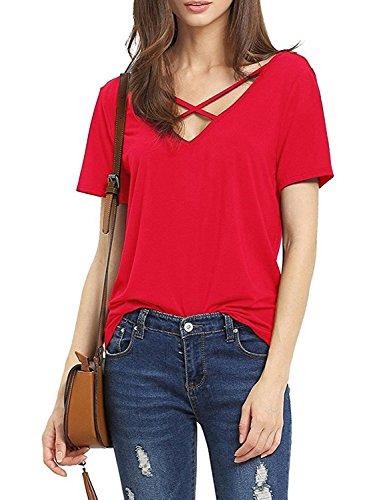 Liqy - Camiseta sin mangas - Camiseta - para mujer Rosso