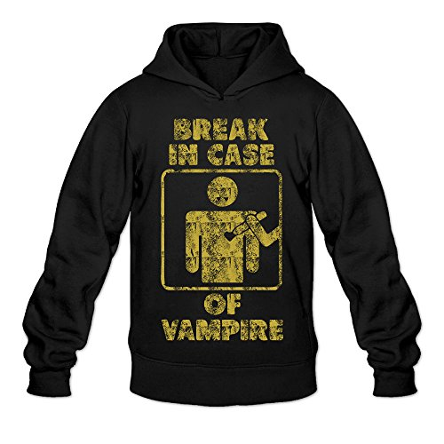 Retro Break In Case Of Vampire Classic Men's Hooded Sweatshirts Black XL ()