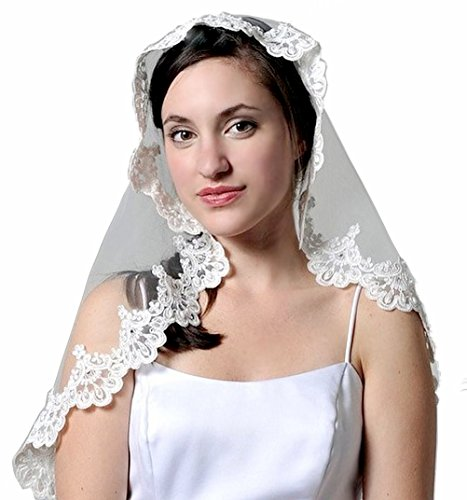 - Pampered Bride White First Communion Mantilla Veil 35x28 Headpiece