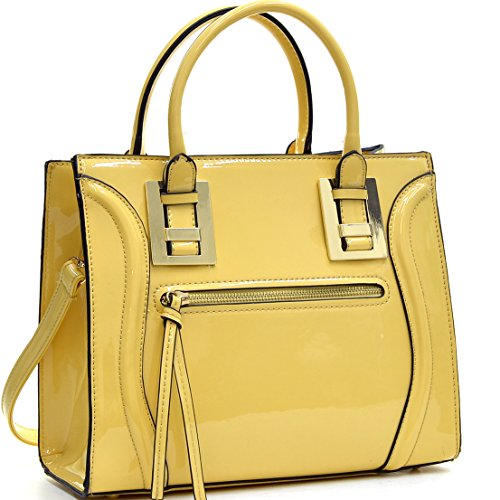 Dasein Structured Patent Leather Satchel, Tote Handbag with Zipper Front Pocket - Yellow