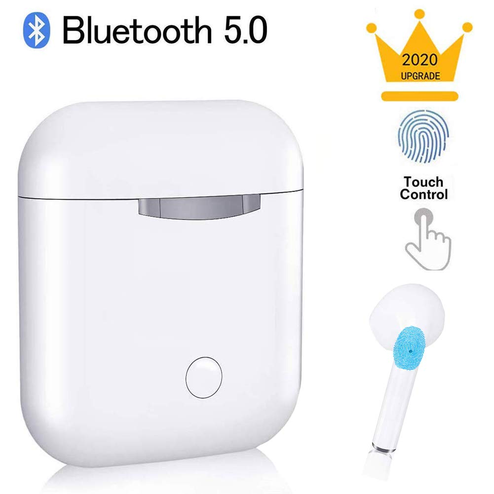 Wireless Earbuds Bluetooth 5.0 Headsets in-Ear Earphone 20H Music Bass 3D Stereo Sport Waterproof (IPX5) Mic Headphone Handsfree Compatible with iOS/Android