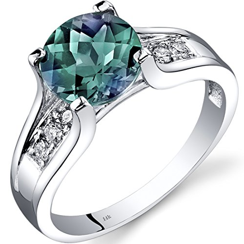 Lab Created Alexandrite Ring - 14K White Gold Created Alexandrite Diamond Cocktail Ring 2.25 Carats Size 8
