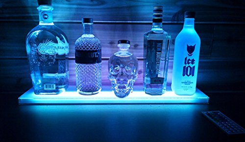 - Sea Star ® Home Bar Lighting - 2 Ft LED Lighted Liquor Bottle Display Shelf Includes Remote Control